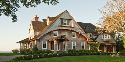 Exterior of Watch Hill, RI shingle style summer house.